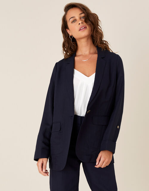 Smart Longline Blazer in Linen Blend, Blue (NAVY), large