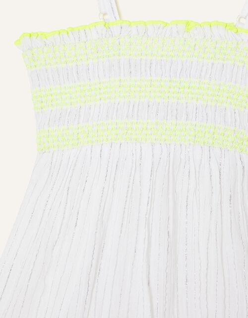 Dobby Shirred Beach Dress, Ivory (IVORY), large