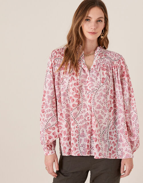Printed Blouse in Pure Cotton, Ivory (IVORY), large