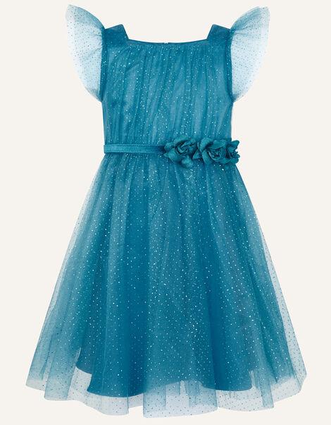 Corsage Belt Glitter Dress Teal, Teal (TEAL), large