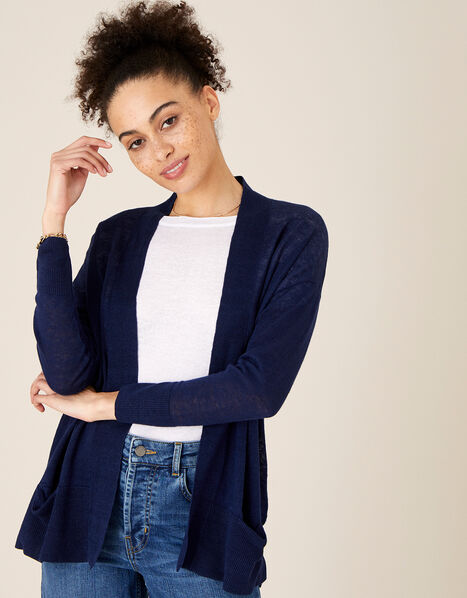 Lily Pocket Cardigan in Pure Linen Blue, Blue (NAVY), large
