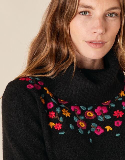 Floral Embroidered Yoke Knit Jumper, Black (BLACK), large
