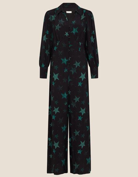Sabrina Star Print Jumpsuit Black, Black (BLACK), large