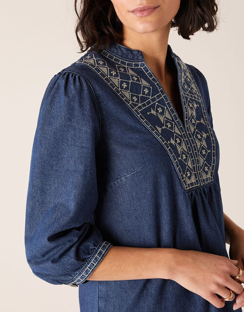 Embroidered Denim Dress, Blue (INDIGO), large