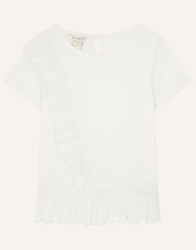 Broderie Frill Top Ivory, Ivory (IVORY), large