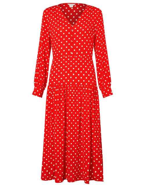 Sandi Polka Dot Long Sleeve Dress, Red, large