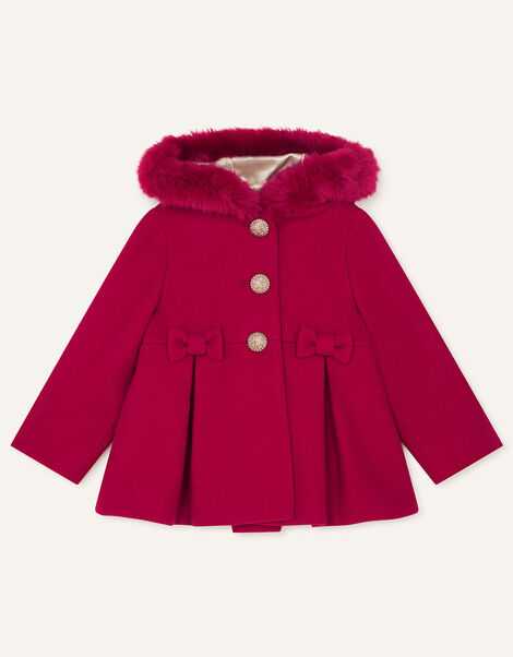 Baby Bow Coat with Hood  Red, Red (RED), large