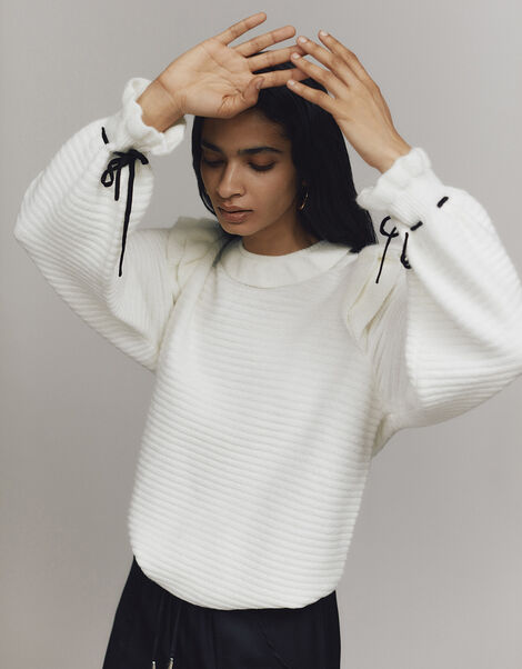 Ruby Ruffle Stitch Jumper with Recycled Fabric Ivory, Ivory (IVORY), large