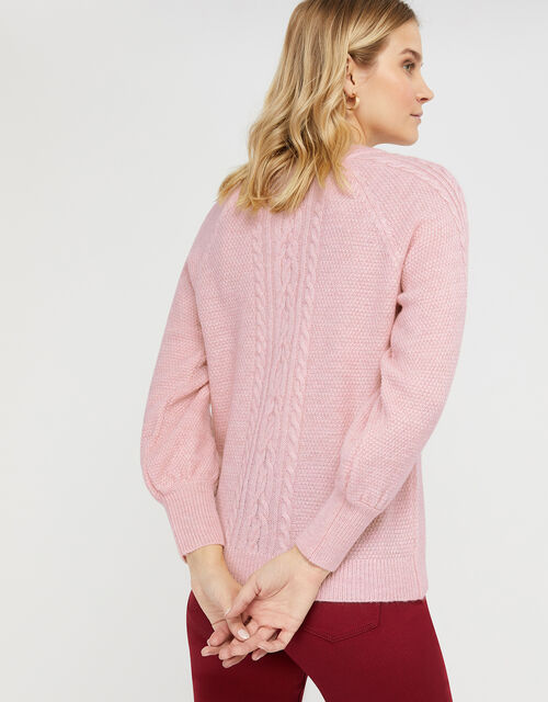 Carly Cable Knit Jumper, Pink, large