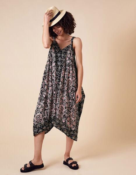 Foil and Paisley Print Dress in LENZING™ ECOVERO™ Black, Black (BLACK), large