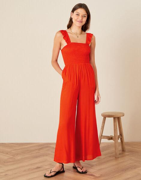 Ruffle Strap Wide Leg Jumpsuit Orange, Orange (ORANGE), large