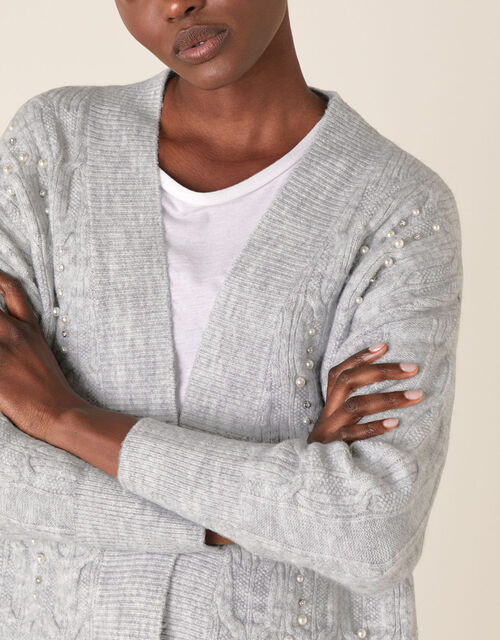 Embellished Cable Knit Cardigan, Grey (GREY MARL), large