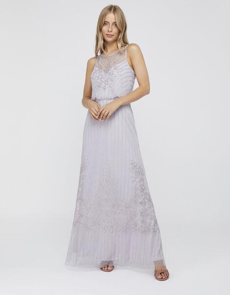 Bella Embellished Maxi Dress Purple, Purple (LILAC), large