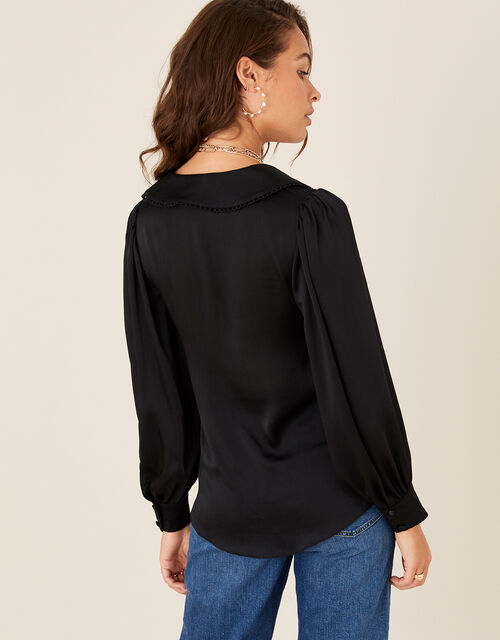 Suzie Collared Satin Blouse , Black (BLACK), large