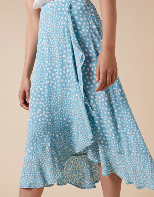Spot Print Wrap Skirt in Sustainable Viscose, Blue (BLUE), large