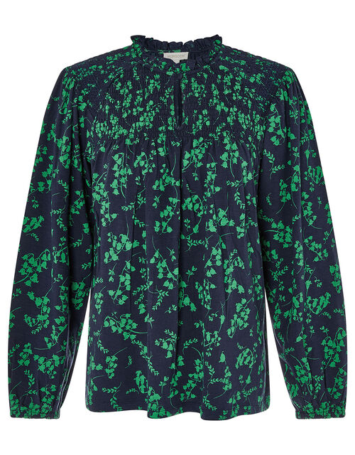 Ava Floral Long Sleeve Top, Blue (NAVY), large
