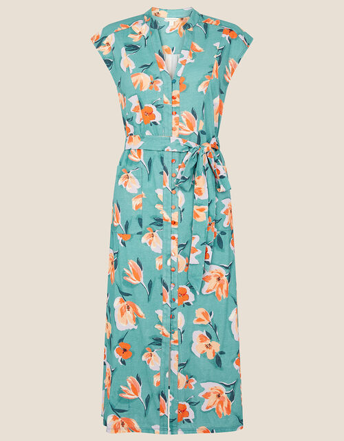 Floral Print Jersey Shirt Dress, Blue (BLUE), large