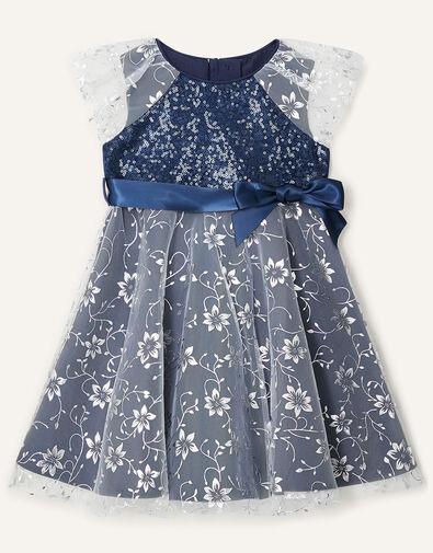 Baby Sanchia Sequin Floral Dress Blue, Blue (NAVY), large