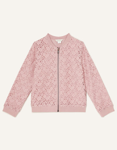 Lace Bomber Jacket Pink, Pink (PALE PINK), large