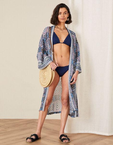 Leighton Geo Print Kimono Blue, Blue (BLUE), large