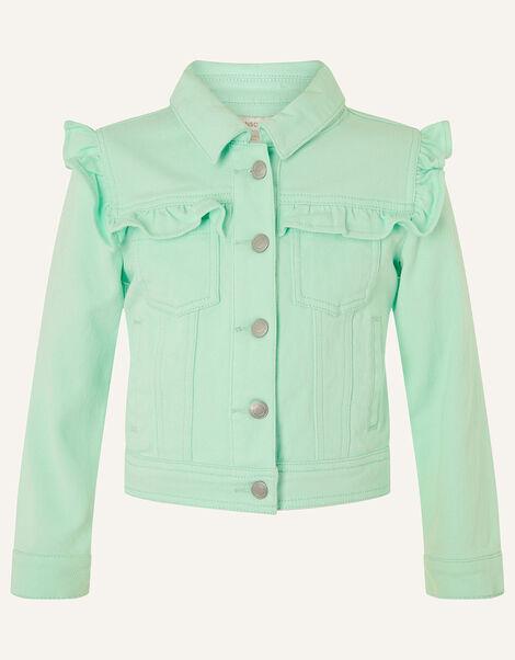 Ruffle Denim Jacket  Blue, Blue (AQUA), large