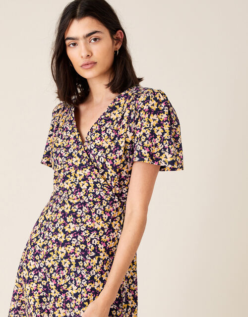 Missie Floral Dress in Organic Cotton, Blue (NAVY), large
