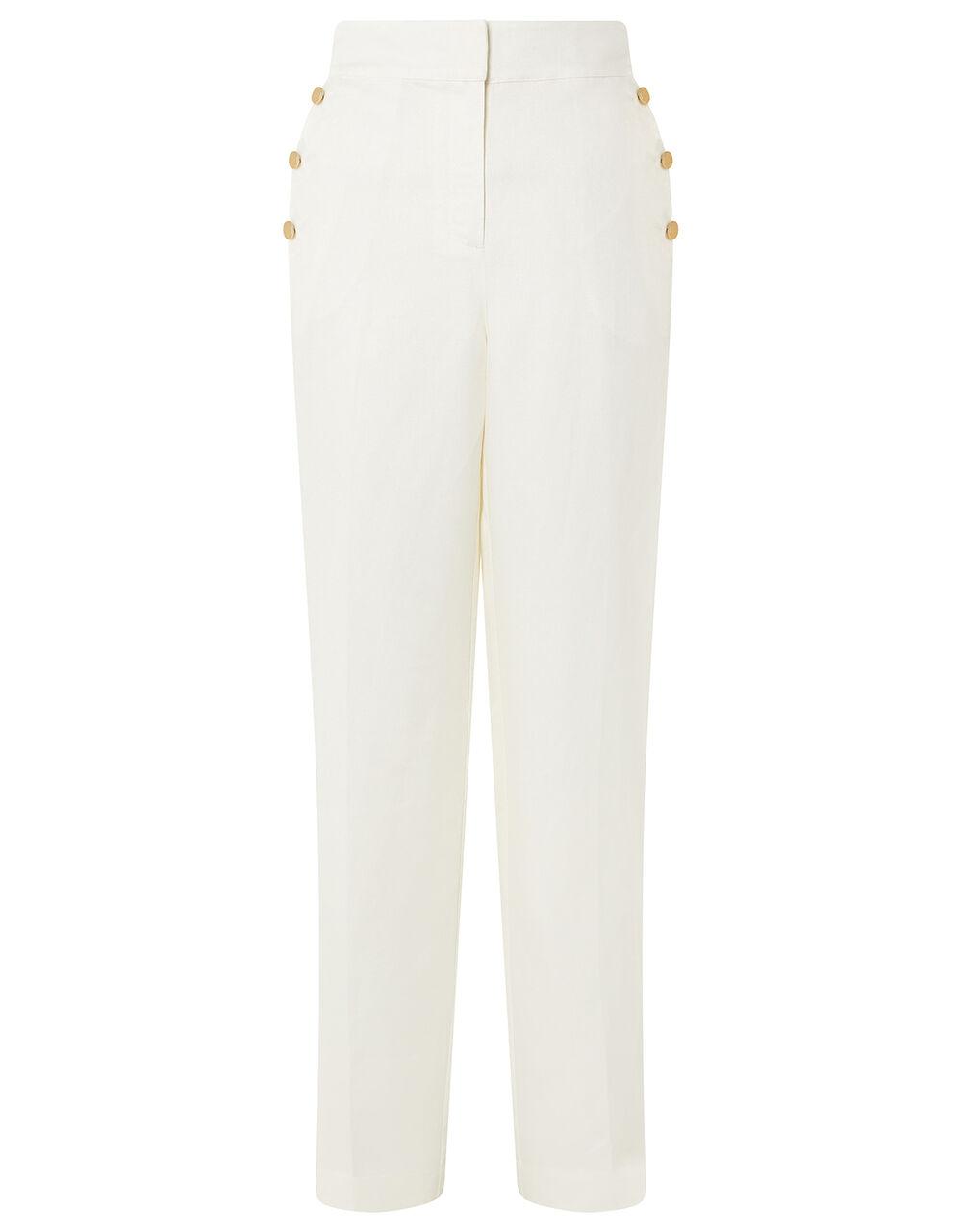 Smart Shorter Length Trousers in Linen Blend, White (WHITE), large