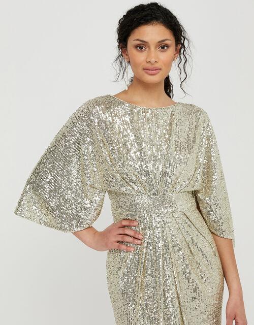 Sophia Sequin Cape Sleeve Midi Dress, Gold (GOLD), large