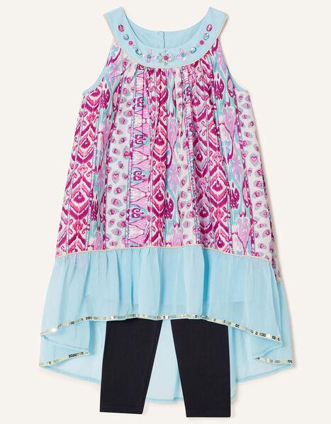 Aztec Tunic Top and Leggings Set Pink, Pink (PINK), large