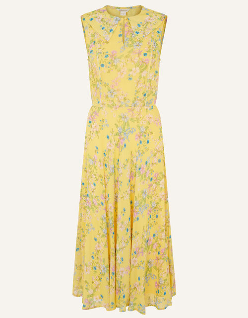 Sylvie Printed Midi Dress, Yellow (YELLOW), large