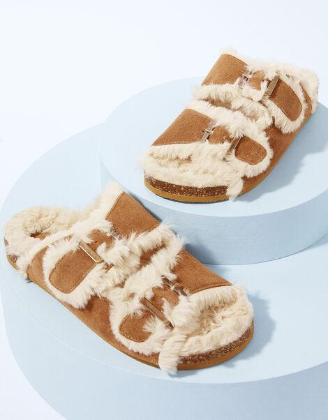 LOUNGE Faux Fur Trim Suede Slippers Tan, Tan (TAN), large