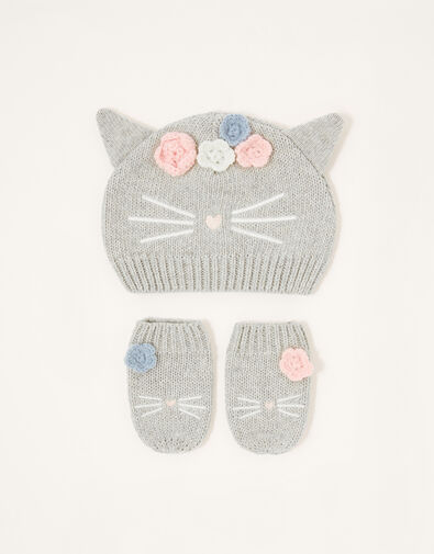 Baby Luna Kitty Beanie and Mitten Set Grey, Grey (GREY), large