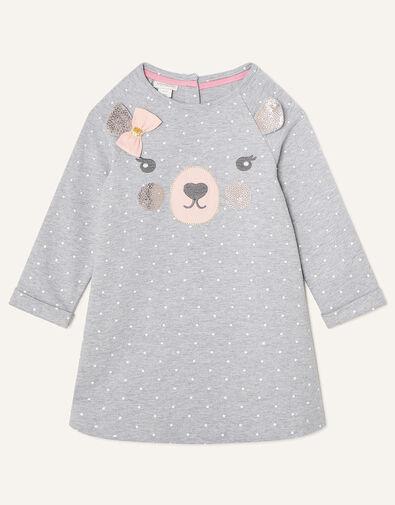 Baby Bear Sequin Sweat Dress Grey, Grey (GREY), large