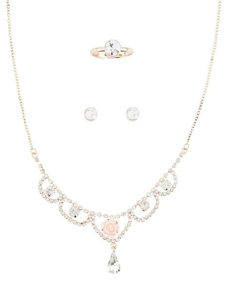 Rose Shine Diamante Jewellery Set , , large