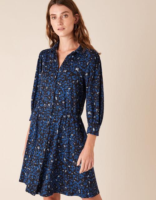 Ditsy Floral Short Jersey Shirt Dress, Black (BLACK), large