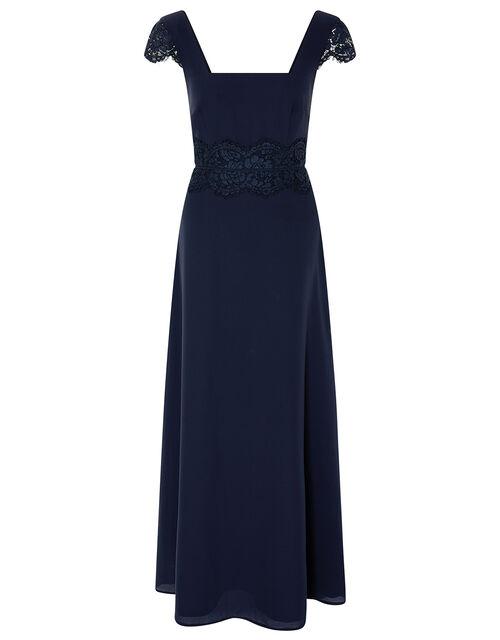 Amanda Lace Square Neck Dress , Blue (NAVY), large