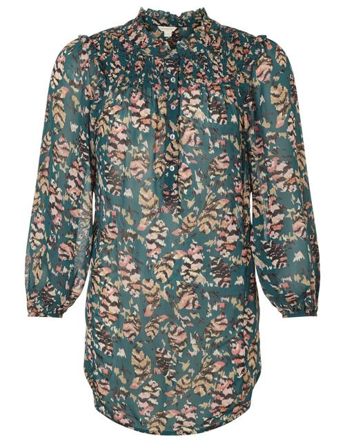 Feather Print Blouse in Sustainable Viscose, Green (DARK GREEN), large