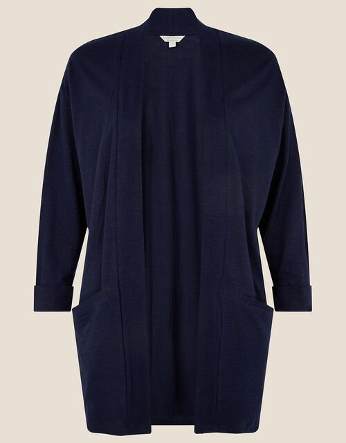 Plain Cover Up in Linen Blend , Blue (NAVY), large
