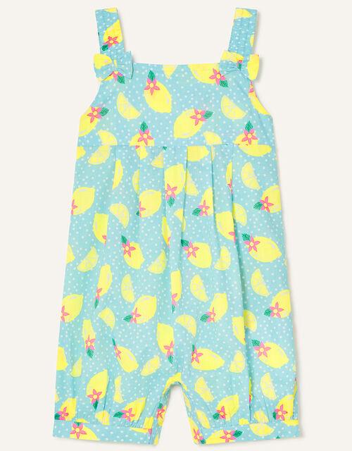 Baby Lemon Print Romper, Yellow (YELLOW), large