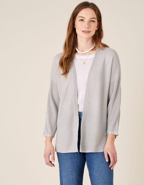 Sari Textured Cardigan Silver, Silver (SILVER), large