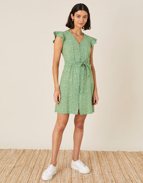 Maddy Printed Jersey Dress Green, Green (GREEN), large