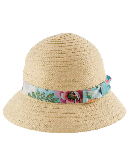Bessie Printed Bucket Straw Hat , Natural (NATURAL), large