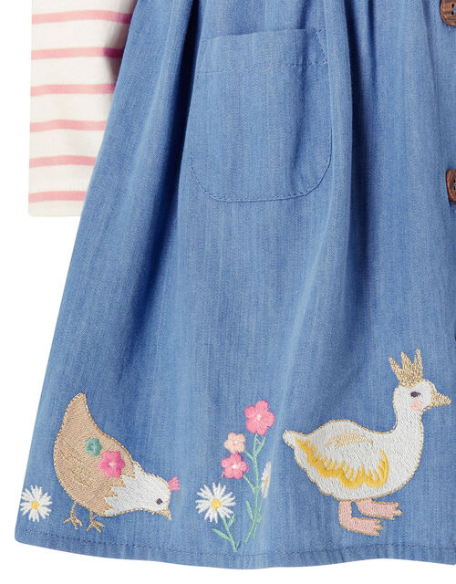 Baby Duck Denim Pinafore Set, Blue (BLUE), large