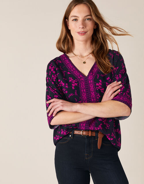 V-Neck Heritage Print Top in LENZING™ ECOVERO™, Blue (NAVY), large