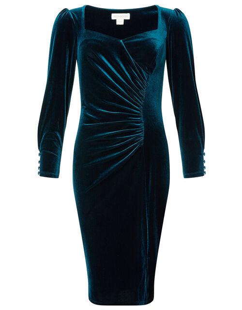 Emily Stretch Velvet Shift Dress, Teal (TEAL), large
