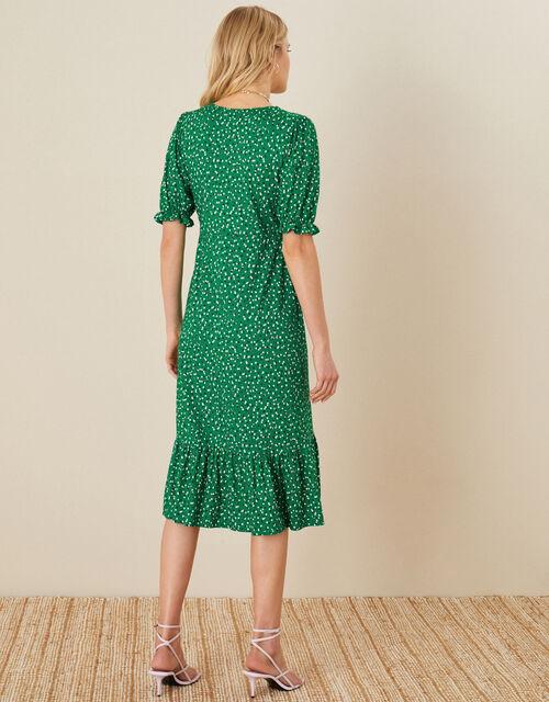 Britt Spot Print Jersey Wrap Dress, Green (GREEN), large