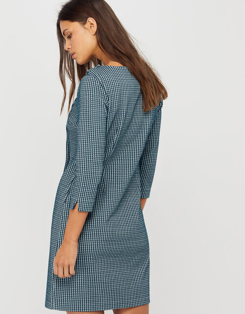 Henny Houndstooth Jacquard Dress, Teal, large