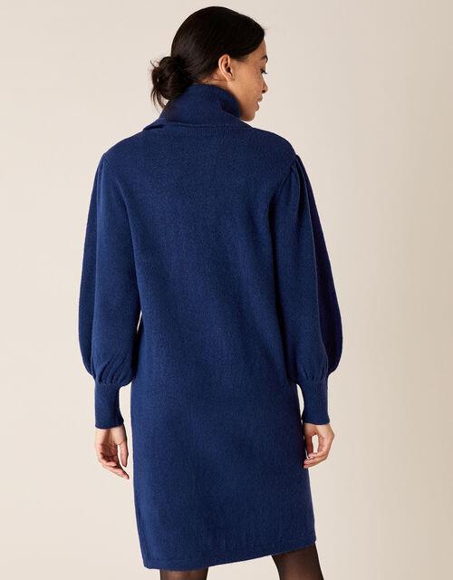 Roll Neck Knit Dress, Blue (DARK BLUE), large