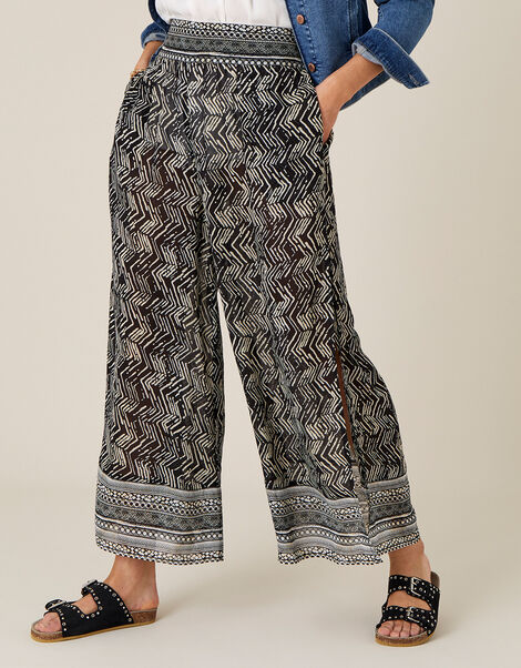 Geo Print Split Side Culottes Black, Black (BLACK), large