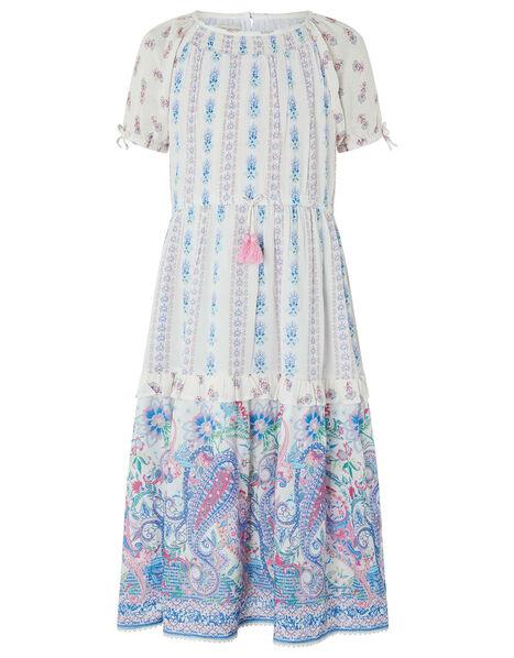 Adra Paisley Print Dress in LENZING™ ECOVERO™ Ivory, Ivory (IVORY), large